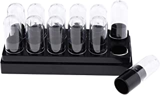 12 Cavities, Black, Empty, 9.3mm PP Plastic Lip Balm Lipstick Tubes Lip Gloss DIY Containers w/Clear Caps, Refillable