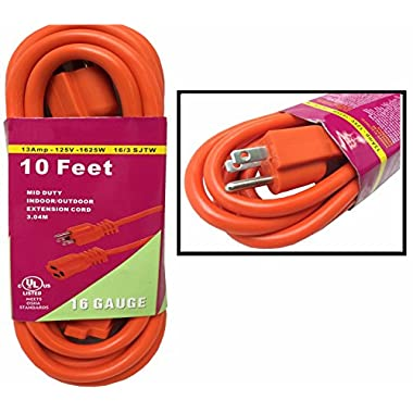 Heavy Duty 10ft Orange Extension Power Cord Indoor Outdoor (10 feet)
