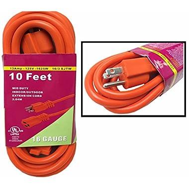 Heavy Duty 10ft Orange Extension Power Cord Indoor Outdoor (10 feet)