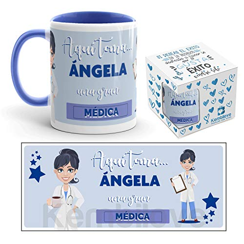 Kembilove Taza de Café de la Mejor Médica del Mundo Personalizada con el Nombre – Taza de Desayuno para la Oficina – Taza de Café y Té para Profesionales – Taza de Cerámica Impresa para Médicas