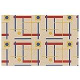 Felpudo para puerta de interior y exterior, con un mensaje a Bauhaus Circle con respaldo de PVC resistente antideslizante de bienvenida, alfombra frontal lavable de 23,6 x 15,7 cm