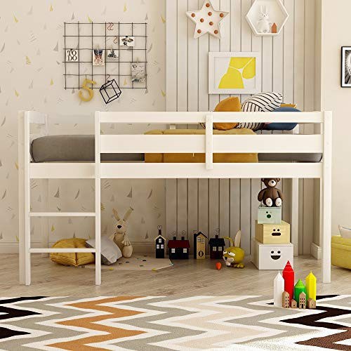 Twin Loft Bed for Kids and Toddlers Low Loft Bed Frame with Ladders and Guard Rails, No Box Spring Needed,Twin Size, White