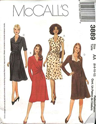 Schnittmuster A Line Kleid Schnittmuster Strickweste vorne Krawatte Ärmelvarianten McCall 3889(6–44–12)