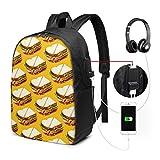 Schinken-Sandwich-Muster USB-Rucksack Machen Taschen 17 Zoll-Laptop-Rucksack für Reiseschulgeschäft weiter