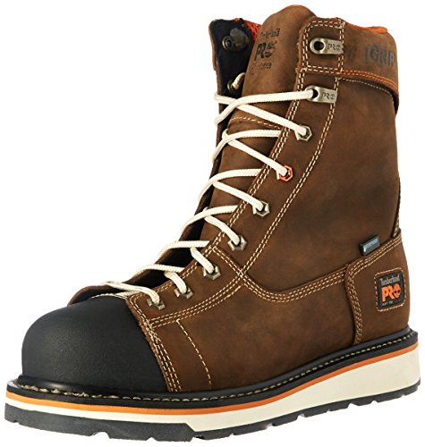 "Timberland PRO Men's Gridworks 8"" Soft Toe Waterproof Industrial & Construction Shoe, Brown Full Grain Leather, 8 M US"