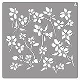 Plantilla Stencil St-01 Flower 20x20 CM La Pajarita Especial Para Chalk Paint y Pintura Tela