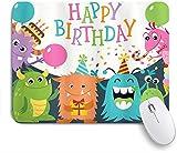 HASENCIV Alfombrilla de Ratón,Cumpleaños Little Baby Monsters con The Party Conos Lluvia y Globos Imagen,Alfombrilla de ratón Gaming,Base de Goma Antideslizante,Mouse Pad para Oficina 24 x 20 cm