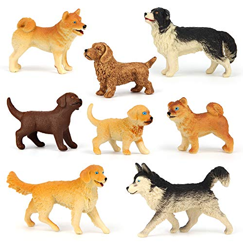 Mini Tudou Dog Figures Play Set,8 pcs Realistic Dog Figurines Toys,Durable Solid Body Poppy Model Include Husky,Rechofer,Golden Retriever for Cake Topper,Educational Toy,Collection and Decorations