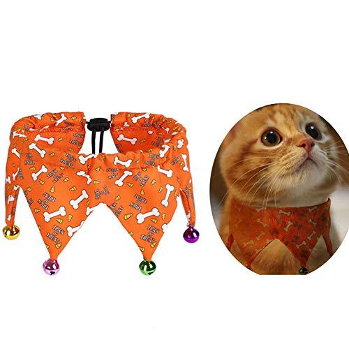 AZXAZ - Collar para gato de Halloween con campanas para disfraz de Halloween con bufanda de calabaza/hueso para cachorro y gato