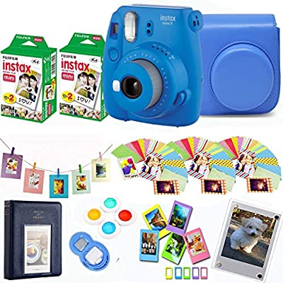 Fujifilm Instax Mini 9 Instant Camera + Fuji Instax Film 40 Shots + Protective Case + Magnetic Acrylic Frame + Album, Frames, Filter Set & Selfie Lens 90 PC Design Kit … by The Tech Expert