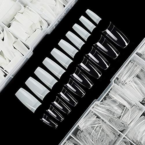 Uñas Postizas Uñas Falsas Tips Naturales y Transparentes Puntas de Uñas Francesa Artificiales Acrílico con 10 Tamaños Deferentes 500+500 Piezas