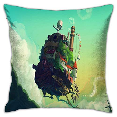 Hinyast Fundas de almohada con impresión 3D, Studio Ghibli (4), fundas de cojín cuadradas decorativas para sofá, decoración del hogar, 45 x 45 cm