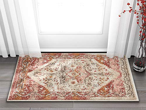 Well Woven Occhio Vintage Medallion Terracotta & Blush Pink Area Rug 20x31 (20' x 31' Mat) Soft Plush Modern Tribal Carpet