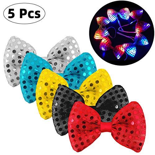 Danolt 5 Stücke LED-Blitz Krawatte Mischungsfarbe Leuchtende Fliege Leuchten Spielzeug Unisex Glitter Krawatte für Kinder Party Maskerade Tanzen Bühne Weihnachten