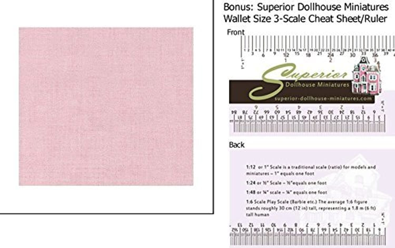 Dollhouse Wallpaper Light Pink Cloth w BONUS Wallet 3Scale Ruler by New Creations
