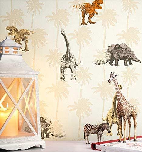 NEWROOM Kindertapete Braun Dinos Dinosaurier Kinder Vliestapete Orange Vlies Kindertapete Kinderzimmer Babytapete Babyzimmer