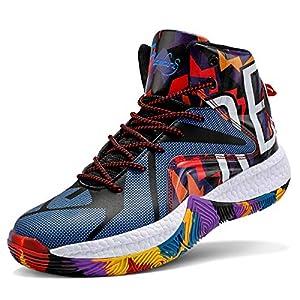 WETIKE Boys Basketball Shoes Non Slip Basketball Shoes for Boys Lightweight Girls Basketball Shoes Breathable Kids Basketball Shoes Durable Boys Shoes Camouflage Blue