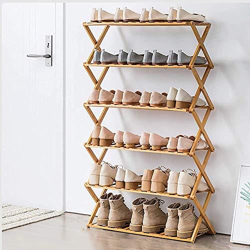 SHDS Zapatero Plegable Zapatero de bambú Multifuncional Independiente Organizador de Zapatos Independiente 1106 para Sala de Estar (Color: Color Madera tamaño: 70 * 25 * 110 cm)