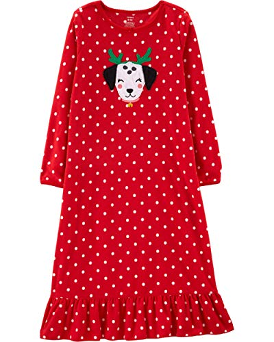 Carter's Girls' L/S Holiday Nightgown (Toddler/Kid) (4-5, Red Dog Fleece)