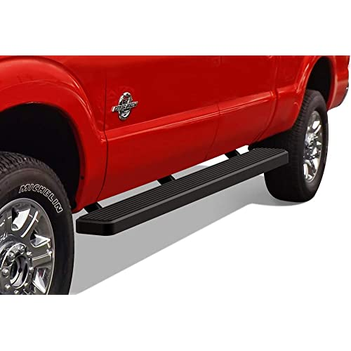 APS iBoard Running Boards 6 inches Black Custom Fit 1999-2016 Ford F250 F350 Super Duty Crew Cab (Nerf Bars Side Steps Side Bars)