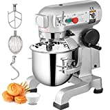 Happybuy Commercial Food Mixer 10Qt 450W 3 Speeds Adjustable 110/178/390 RPM Heavy Duty 110V with...