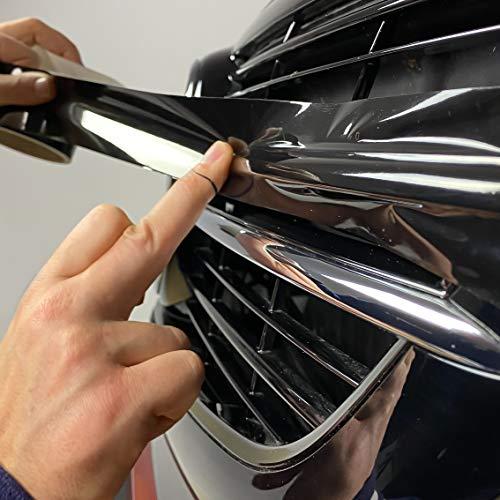 Schwarzer Grill Folie Zierleisten zum Folieren von Auto Chromleisten, Frontgrill, Exterieur Black Schwarze Folie Optik Paket Glanz Schwarz Tiefschwarz