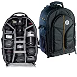 VTS DSLR Camera Backpack Bag Waterproof for Lens Accessories Tripod Monopod Heavy Duty and Video Camera (Black; Big)