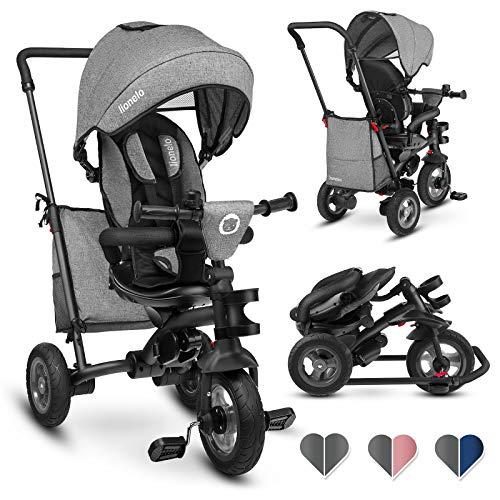Lionelo Lo TRIS STONE GREY Tris driewieler loopfiets vanaf 1 jaar kinderdriewieler stuurstang baby kinderwagen, grijs, 11 kg