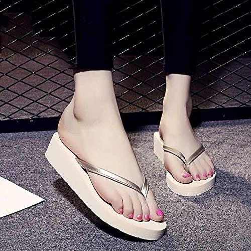 Ririhong Chanclas Zapatillas de Moda de Verano para Mujer, Sandalias de tacón Alto, Zapatos de Playa de Suela Gruesa para Estudiantes femeninas-43_Beige (5cm)