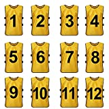 TopTie Sets of 12 (#1-12, 13-24) Numbered / Blank Training Vest, Soccer Pinnies-Yellow (#1 to 12)-XL