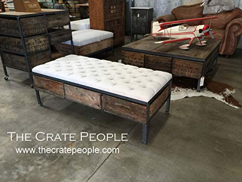 Tufted Ottoman Coffee Table with 3 Vintage Crates as drawers - Custom Made Furniture