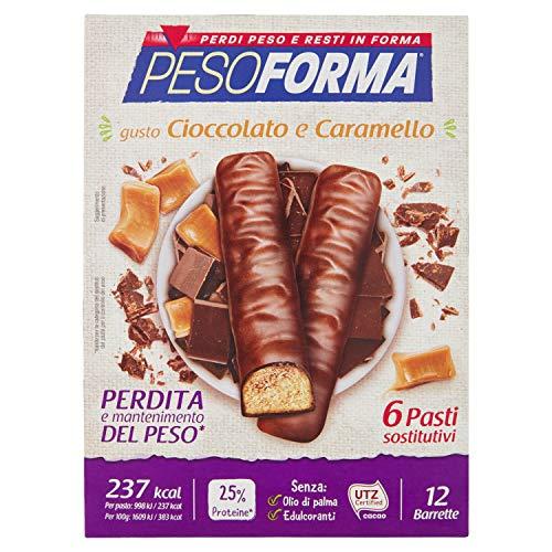 Pesoforma Barrette Cioccolato e Caramello, Pasti Sostitutivi Dimagranti, 12 x 31g