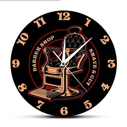 mazhant Silla de barbería, Logotipo Vintage, Reloj de Pared silencioso, decoración de peluquería, Reloj de Pared Colgante, Gran Regalo para barberos y estilistas-30X30cm