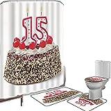 Juego de cortinas baño Accesorios baño alfombras Decoraciones de 15 años Alfombrilla baño Alfombra contorno Cubierta del inodoro Pastel de chocolate y cereza con tema de fiesta de velas de número de v