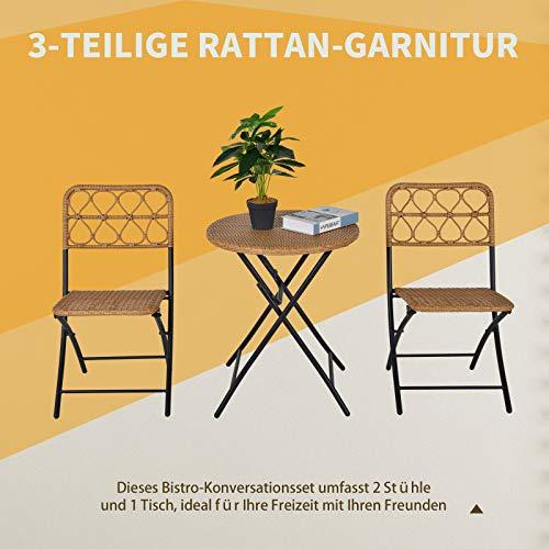 Outsunny 3 TLG. Polyrattan Sitzgruppe Bistroset Balkonset Garnitur 2 Stühlen + Tisch Klappbar Garten Natur - 3