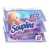 SOUPLINE - Adoucissant Soupline Lavande Eco Recharges - Pour un linge d'une Douceur Incroyable - Fraîcheur Longue Durée - 3 x 200 ml = 2 Litres d'Adoucissant Classique = 27 Lavages
