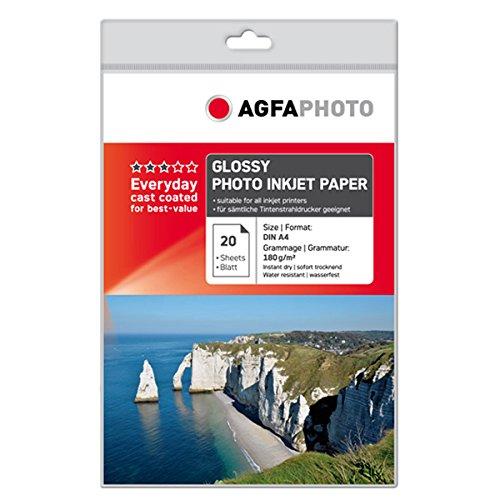 AgfaPhoto AP18020A4 - Papel fotográfico (brillante, A4, 20 hojas), blanco