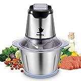 Nestling Picadora eléctrica de 500W, con 4 cuchillas afiladas y tazón de acero inoxidable de 1.2L, picadora de cocina para carne, verduras,cebolla y frutas