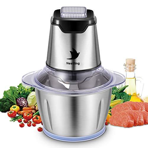 Nestling Picadora eléctrica de 600W, con 4 cuchillas afiladas y tazón de acero inoxidable de 1.2L, picadora de cocina para carne, verduras,cebolla y frutas