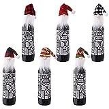 6 Pezzi Coperchio Bottiglia Vino Natale,Sacchetti Bottiglia Babbo Natale,Maglione Bottiglia Vino,Utilizzato per Bottiglia di Vino, Tavolo da Pranzo, Albero di Natale, Decorazione Regalo