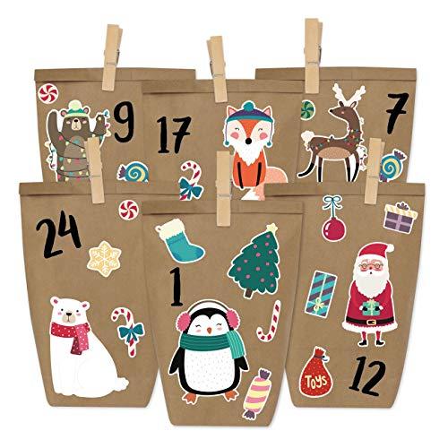 Papierdrachen Fai da Te Calendario dell'Avvento - Natale Animali per attaccare - con 24 Sacchetti di Carta per Il riempimento - Natale e l'Avvento 2019