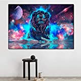 DCLZYF Arte Abstracto Moderno Color Planeta león resplandeciente Lienzo Pintura imágenes de Animales Cartel de Arte de Pared e Impresiones decoración para Sala de estar-60x80cm (sin Marco)