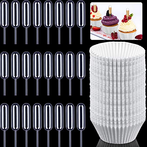 100 Pieces Baking Cups Disposable Cupcake Liners with 100 Pieces 4 ml Plastic Cupcake Pipettes Transfer Liquid Dropper for Cake, Muffins, Cupcakes, Candies, Chocolate, Mini Ice Cream (White)