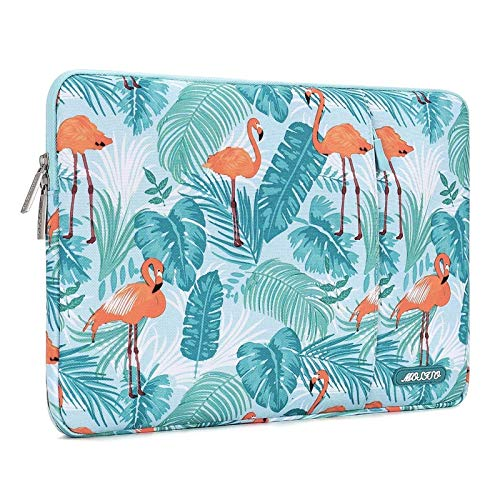 MOSISO Laptop Sleeve Compatible with MacBook Air 13 inch A2337 M1 A2179 A1932, 13 inch MacBook Pro A2338 M1 A2289 A2251 A2159 A1989 A1706 A1708, Polyester Vertical Flamingo Palm Leaves Bag with Pocket