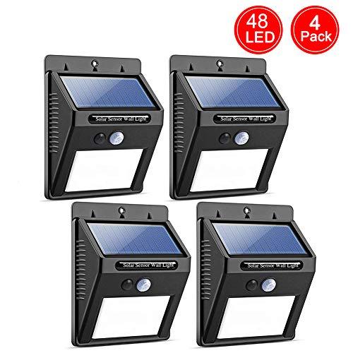 Salandens Luces Solares - 48 LED Lámpara Solar Exterior Solar Luz LED Iluminación Exterior para Jardín, Patio, Terraza, Inicio, Camino, Escalera Exterior Paquete de 4 [Clase de eficiencia energética A+++]