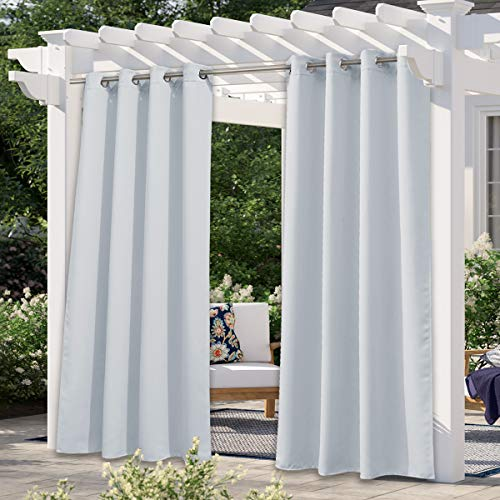 NICETOWN Greyish White Outdoor Curtain for Patio Waterproof, Windproof Blind Stainless Steel Grommet Room Darkening Thermal Insulated Vertical Drapes for Front Porch & Canvas, 1 Panel, W52 x L84
