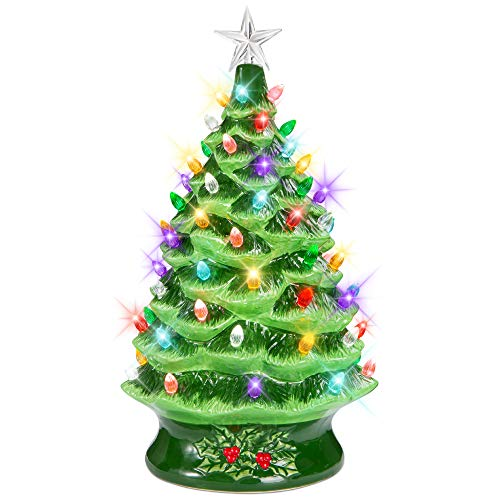 Best Choice Products 24in Extra Large Pre-Lit Ceramic Christmas Tree Battery-Powered Hand-Painted Tabletop Indoor Holiday Decoration w/LED Light, Timer, Star Topper, Glossy Finish - Green
