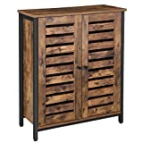 VASAGLE LOWELL Standing Cabinet, Storage Cabinet, Cupboard, Accent Side Cabinet, Sideboard with Louvered Doors, Multifunctional in Living Room, Bedroom, Hallway, Industrial, Rustic Brown ULSC78BX