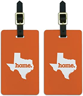 Graphics & More Texas Tx Home State Luggage Suitcase Id Tags-Solid Orange, White