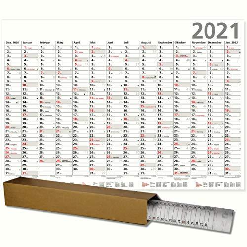 Plakatkalender 2021 großer Wandkalender XL Optima großer Wandkalender 100 x 70 cm mit Ferienübersicht Sonn- und Feiertage in Rot gerollt geliefert!